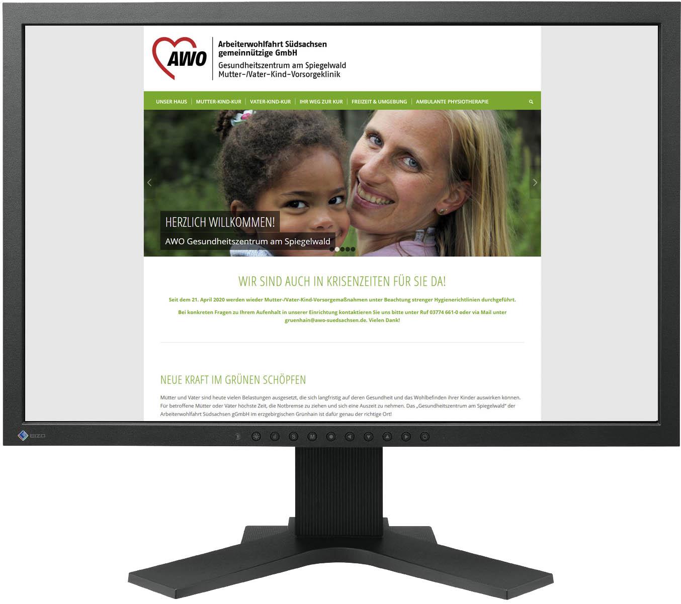Website für AWO Gesundheitszentrum am Spiegelwald