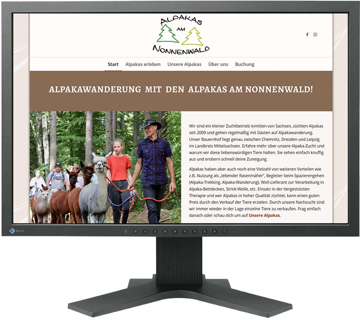 Website für Alpakawanderung Sachsen