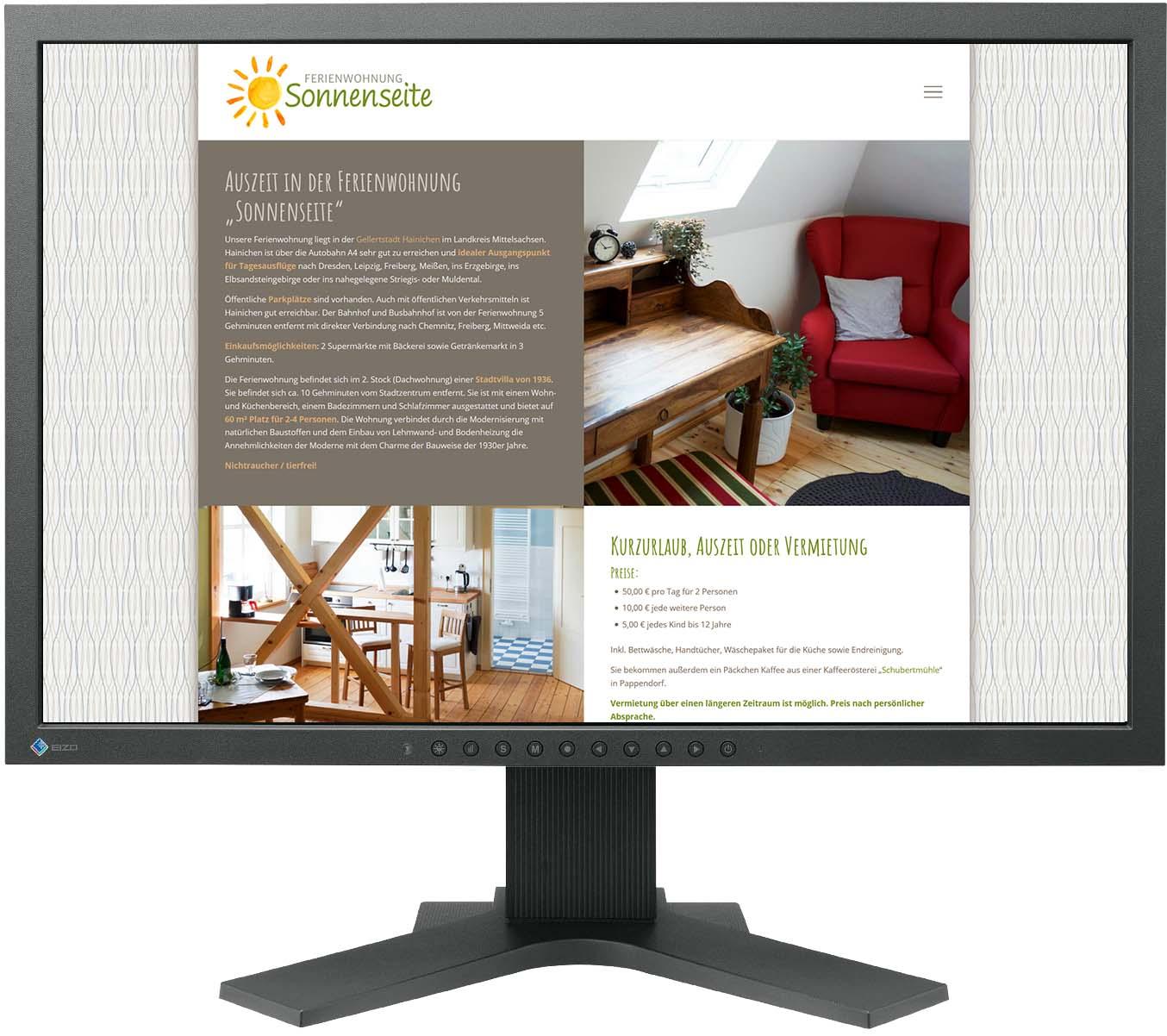 Website für Ferienwohnung Sonnenseite
