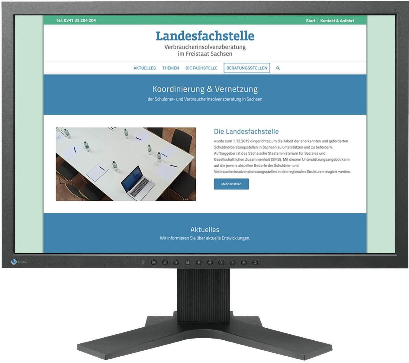 Website Landesfachstelle Verbraucherinsolvenzberatung