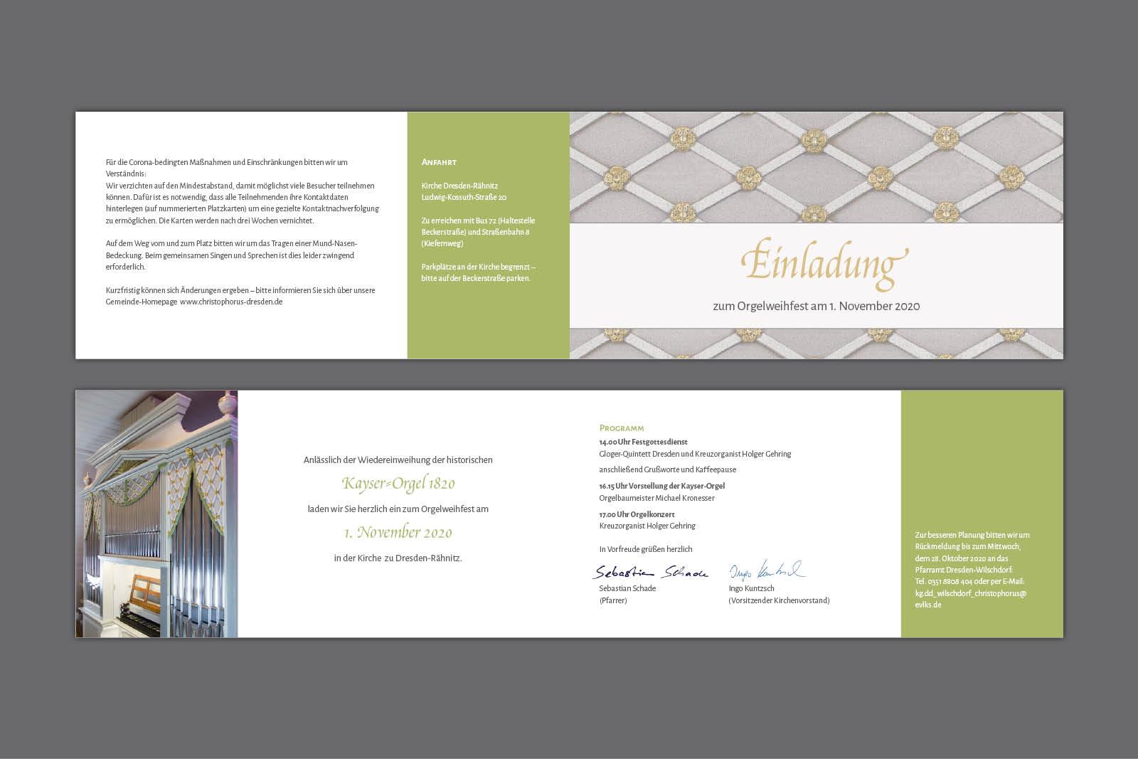 Einladungskarte Orgelweihe Dresden, Klappkarte 4-seitig DIN lang